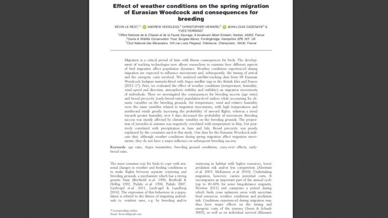 Influence des conditions météorologiques sur la migration de printemps de la bécasse eurasienne et conséquences pour la reproduction.