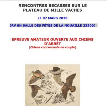 RENCONTRES BECASSES SUR LE PLATEAU DE MILLE VACHES le 07/03/2020