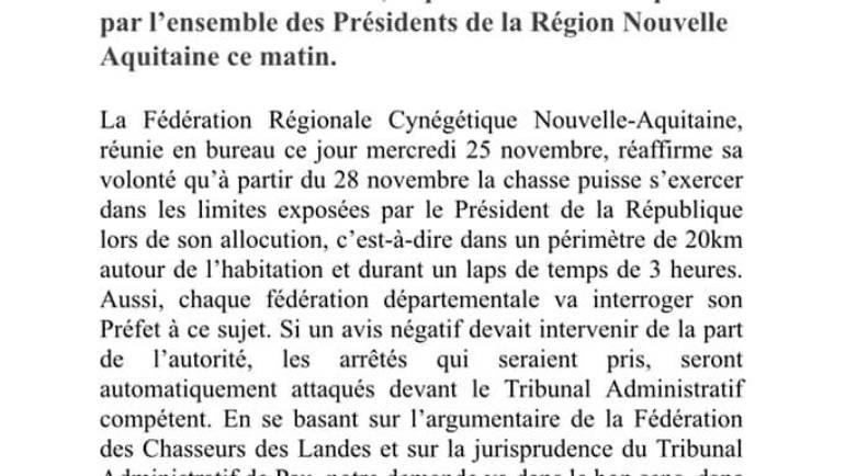 Mesures déconfinement 28/11/2020 – FRC Nouvelle Aquitaine
