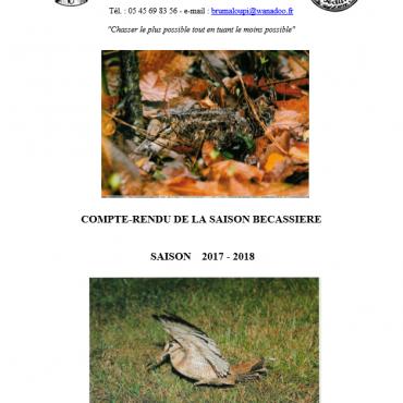 COMPTE-RENDU DE LA SAISON BECASSIERE 2017 – 2018