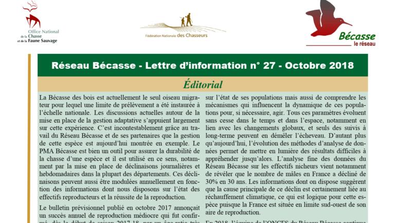 Réseau Bécasse – Lettre d'information n° 27 – Octobre 2018