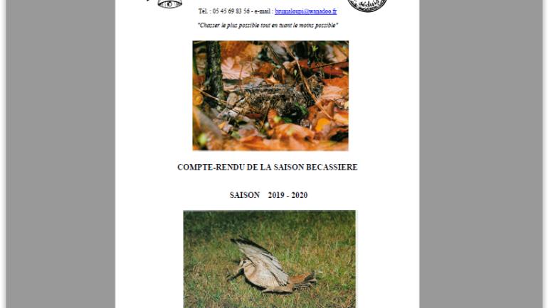 COMPTE-RENDU DE LA SAISON BECASSIERE SAISON 2019 – 2020